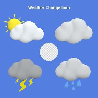 Zestaw 3d ikon zmiany pogody na niebieskim tle