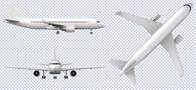 Zestaw białych samolotów w różnych widokach