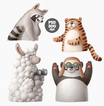 Zestaw clipart zwierząt kreskówka na białym tle