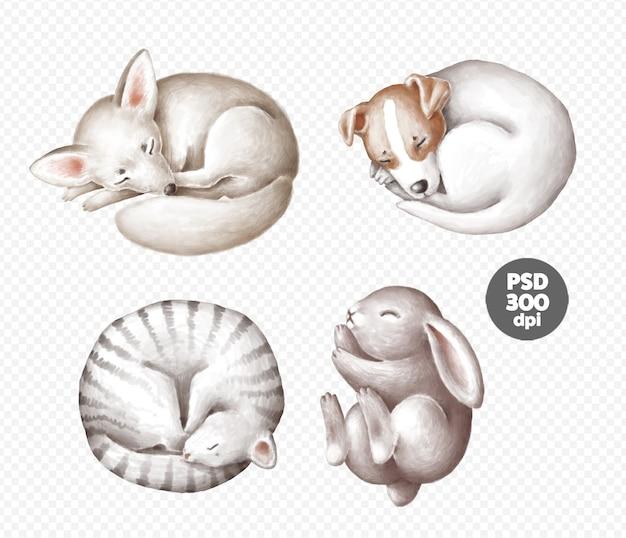 Zestaw clipartów słodkie śpiące zwierzęta na białym tle