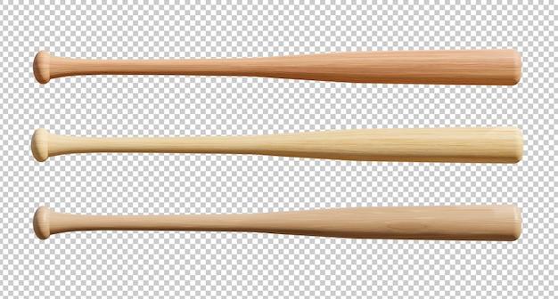 Zestaw drewniany kij baseballowy na białym tle. renderowanie 3d