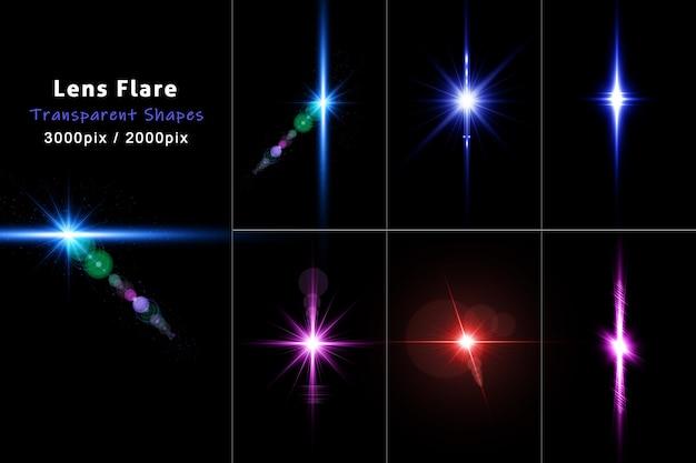 Zestaw efektów świetlnych flary obiektywu