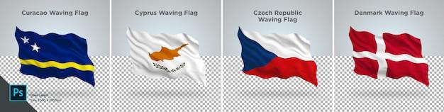 Zestaw flag curacao, cypr, czechy, dania flaga ustawiona na przezroczystym