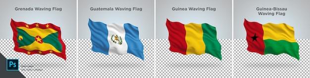 Zestaw flag grenada, gwatemala, gwinea, gwinea bissau zestaw flag przezroczysty