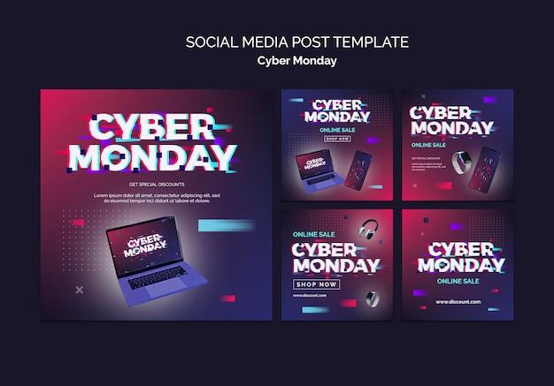 Zestaw futurystycznych postów cyber poniedziałek ig