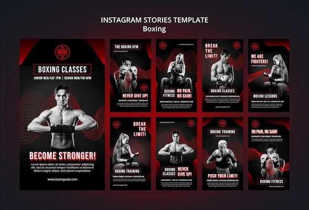 Zestaw historii boksu na instagramie