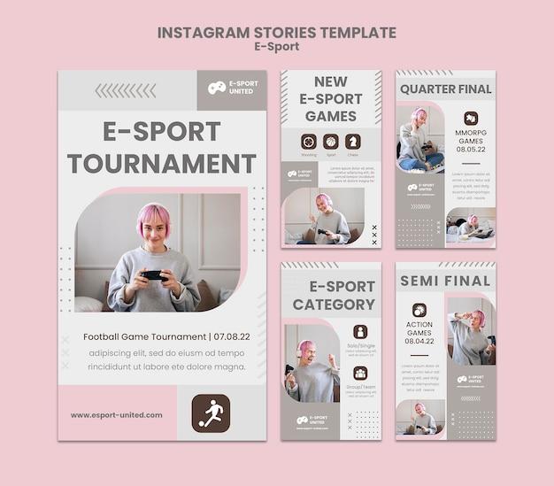 Zestaw historii e-sportu na instagramie