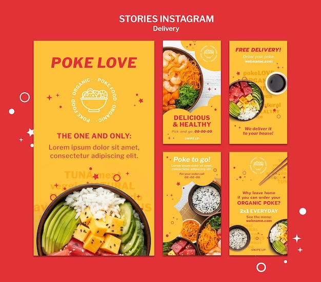 Zestaw historii mediów społecznościowych z dostawą jedzenia