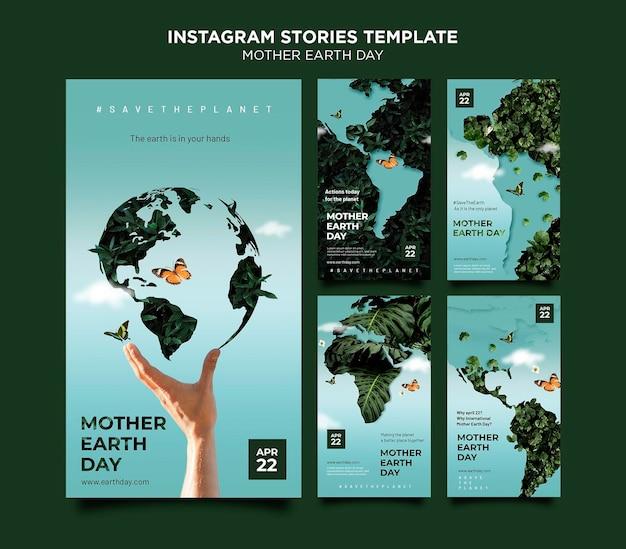 Zestaw historii mediów społecznościowych z okazji dnia matki ziemi