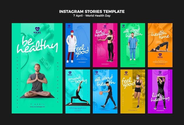 Zestaw historii na instagramie światowego dnia zdrowia