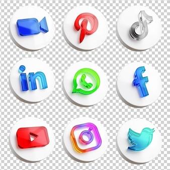 Zestaw ikon najpopularniejszych aplikacji społecznościowych w renderowaniu 3d