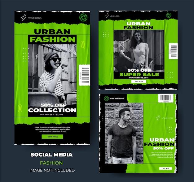 Zestaw instagram nowoczesnej sprzedaży mody miejskiej