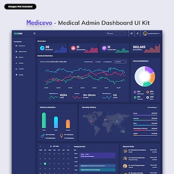 Zestaw interfejsu administracyjnego medicevo-medical admin dashboard