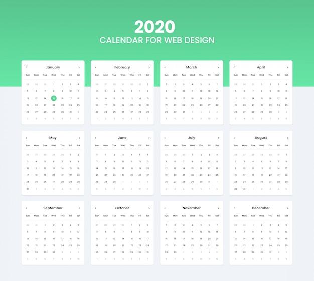Zestaw interfejsu kalendarza 2020 do projektowania interfejsu użytkownika strony internetowej