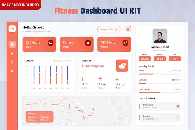 Zestaw interfejsu użytkownika aplikacji fitness tracker dashboard