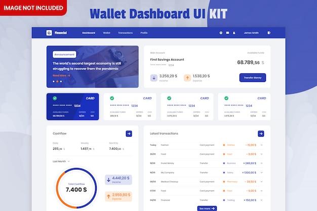 Zestaw interfejsu użytkownika aplikacji wallet management dashboard