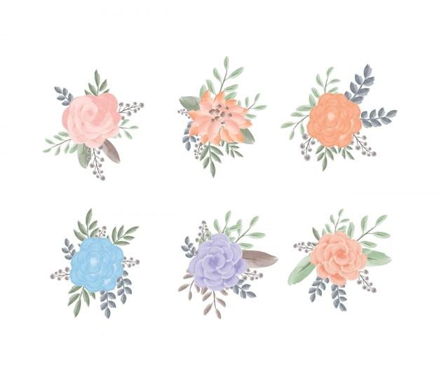 Zestaw kobiecych liści akwarela i kwiatów