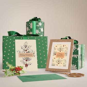 Zestaw kolekcji prezentów na świąteczną makietę