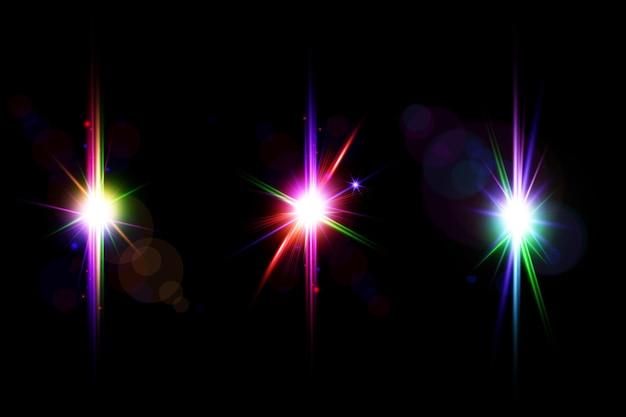 Zestaw kolorowych flar do soczewek galaktyk, kolekcja świateł soczewkowych