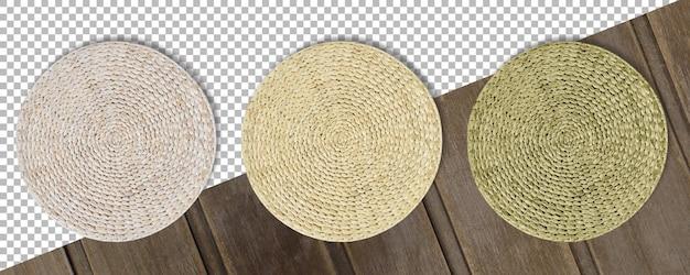 Zestaw kolorowych okrągłych tkanych mat ze słomy na białym tle na przezroczystym tle.