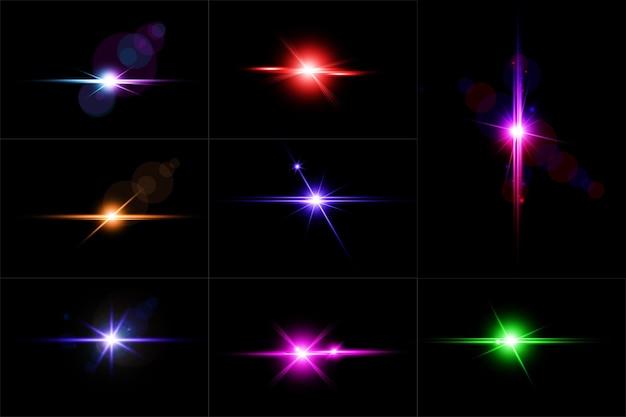 Zestaw kolorowych świecących flar obiektywu, abstrakcyjna kolekcja świateł obiektywu