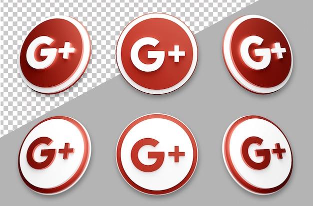 Zestaw logo mediów społecznościowych google w stylu 3d