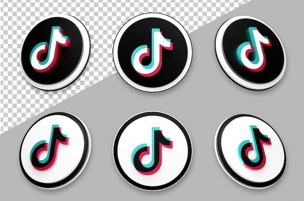 Zestaw logo mediów społecznościowych w stylu tik tok 3d