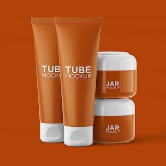Zestaw makiet kosmetycznych tub i słoików na białym tle