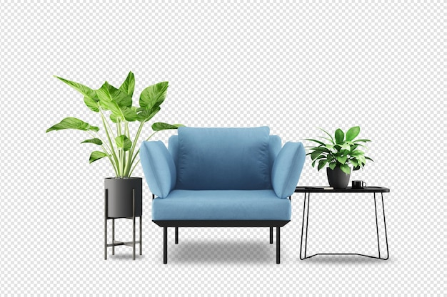 Zestaw mebli wewnętrznych w renderowaniu 3d
