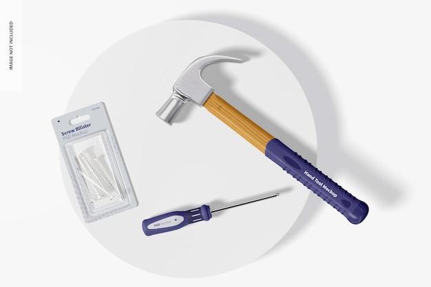 Zestaw narzędzi ręcznych makieta, widok z góry