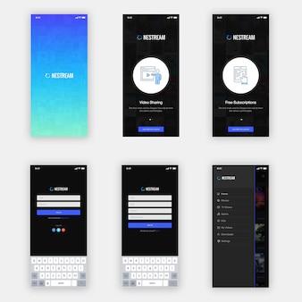 Zestaw nestream mobile app ui
