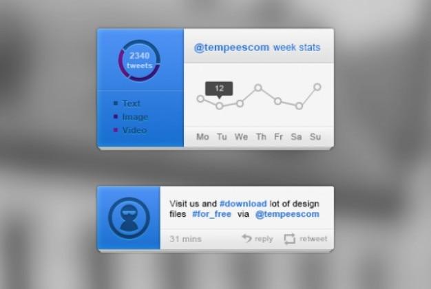 Zestaw niebieski ui twitterze z bloków