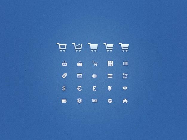 Zestaw niebieskich ikon psd na zakupy