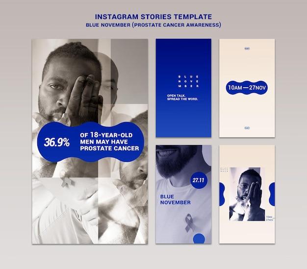 Zestaw niebieskich listopadowych historii na instagramie