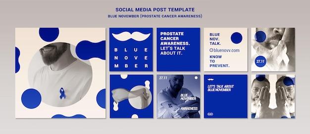 Zestaw niebieskich listopadowych postów na instagramie