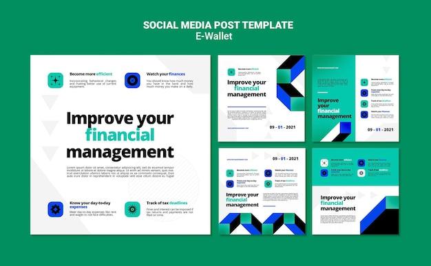 Zestaw nowoczesnych postów w mediach społecznościowych e-portfel