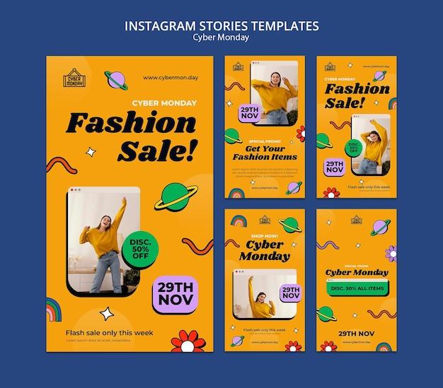 Zestaw opowieści w mediach społecznościowych w cyberponiedziałek