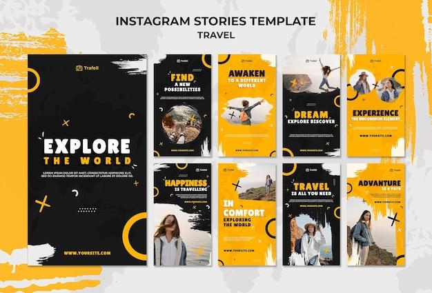 Zestaw podróżnych opowieści w mediach społecznościowych
