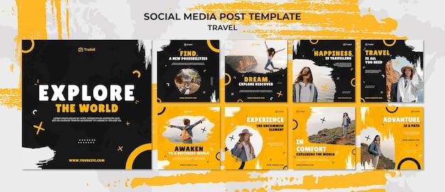 Zestaw podróżnych postów w mediach społecznościowych