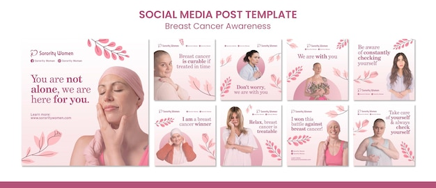 Zestaw postów ig świadomości raka piersi
