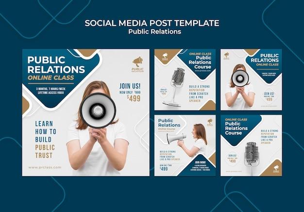 Zestaw postów na instagramie public relations