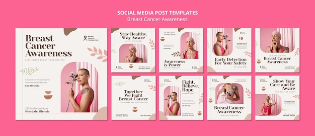 Zestaw postów na instagramie raka piersi