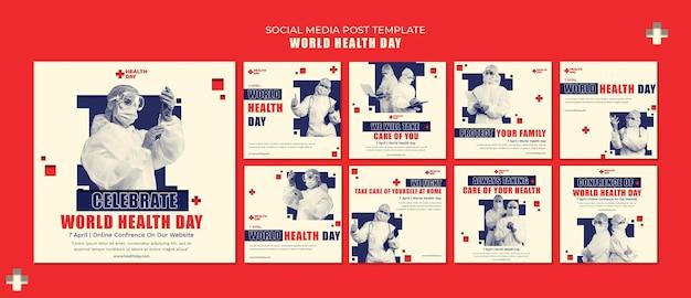 Zestaw postów na instagramie światowego dnia zdrowia