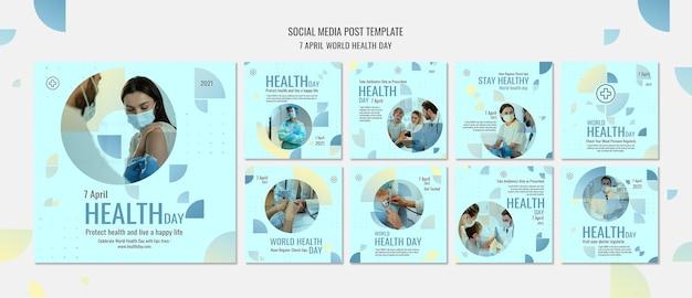 Zestaw Postów Na Instagramie światowego Dnia Zdrowia Premium Psd