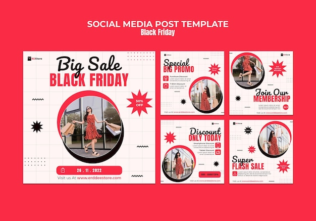 Zestaw postów na instagramie w czarny piątek