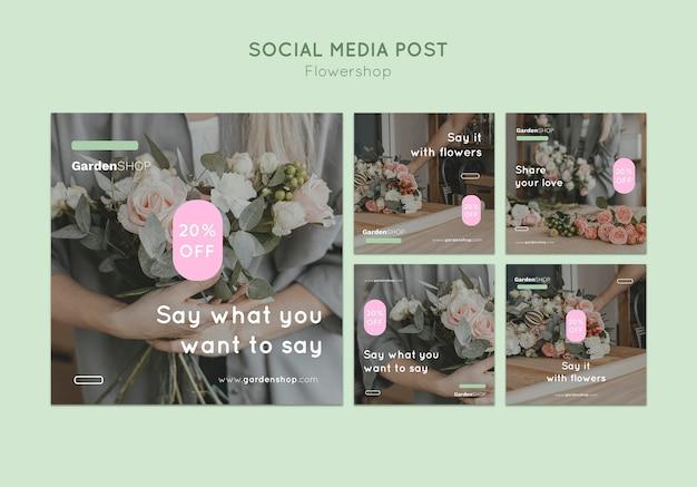 Zestaw postów na instagramie w kwiaciarni