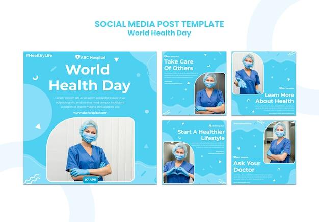 Zestaw postów w mediach społecznościowych na światowy dzień zdrowia