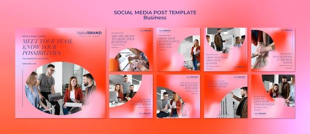 Zestaw postów w mediach społecznościowych na temat rozwoju biznesu