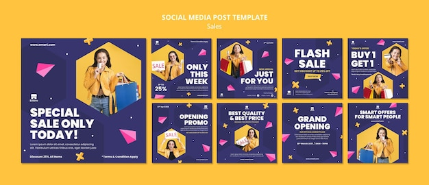 Zestaw postów w mediach społecznościowych sprzedaży