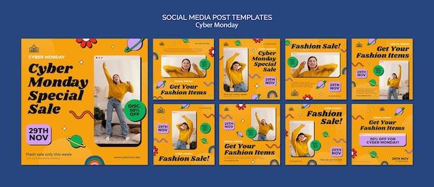 Zestaw postów w mediach społecznościowych w cyberponiedziałek